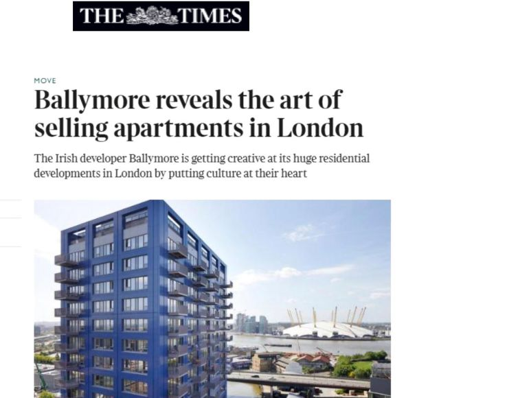 'Ballymore reveals the art of selling apartments in London', The Times