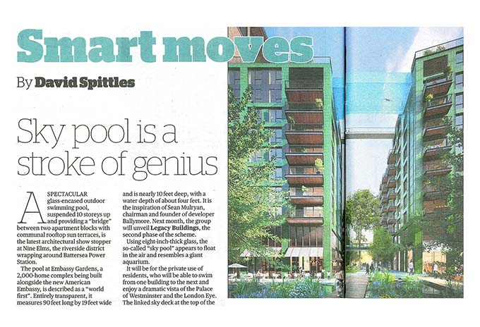 Sky pool is a stroke of genius, Evening Standard, Homes & Property