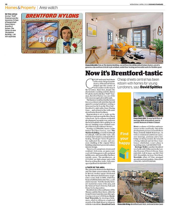 Brentford Waterside in the Evening Standard