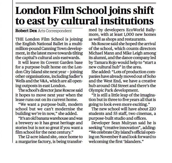 London Film School joins shift to east by cultural institutions