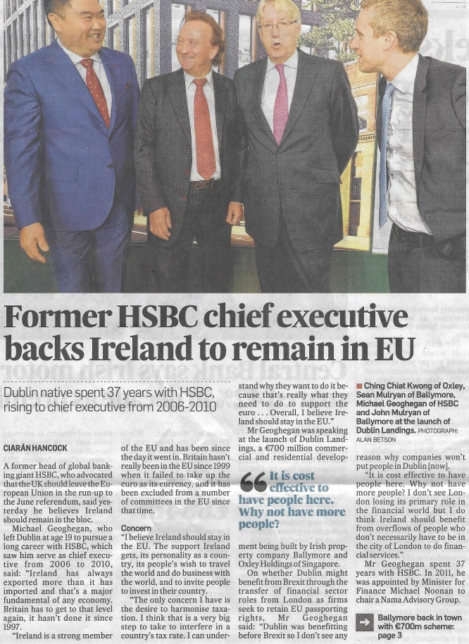 Former HSBC chief executive backs Ireland to remain in EU