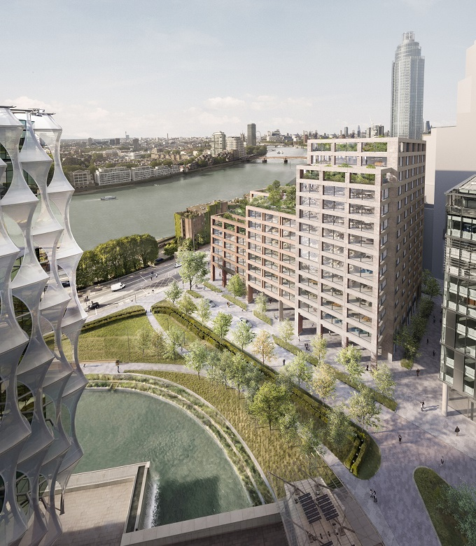 Ballymore submits planning application for riverside offices; EG:HQ at Embassy Gardens