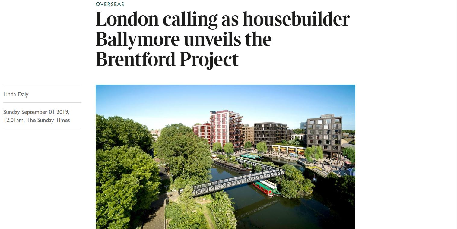 London calling as housebuilder Ballymore unveils the Brentford Project