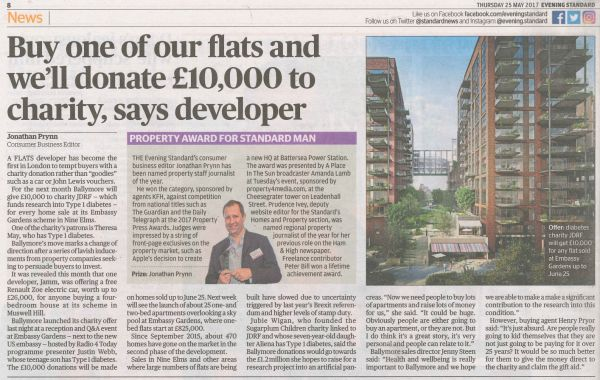 £10,000 donation for every apartment sold