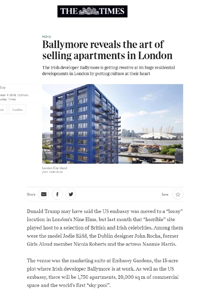 Ballymore reveals the art of selling apartments in London