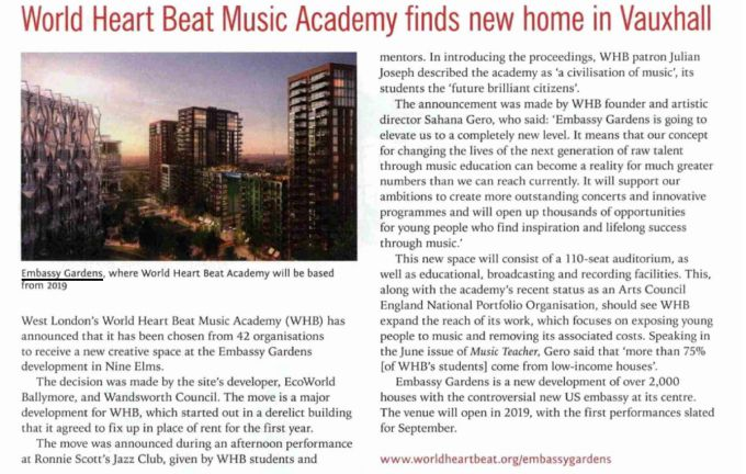 World Heart Beat Music Academy finds new home in Vauxhall