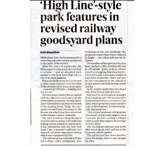 'High Line'-style park features in revised railway goodsyard plans (Evening Standard)